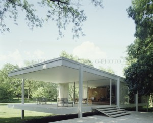 FARNSWORTH HOUSE EXTERIOR. END DETAIL WITH CHAIRS