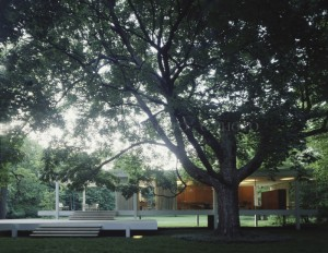 FARNSWORTH HOUSE FULL EXTERIOR WITH LIGHTS.